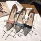 Pointy Toe Bow Glittered Pumps