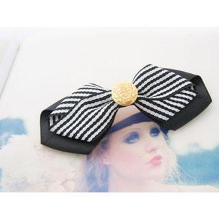 Striped Bow Hair Pin -dark Blue One Size