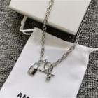Alloy Padlock Pendant Necklace As Shown In Figure - One Size