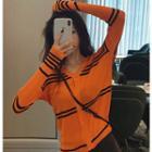Button-down Striped Light Knit Cardigan