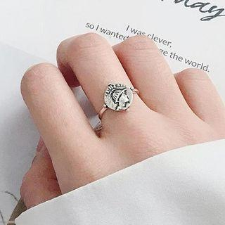 925 Sterling Silver Embossed Head Open Ring Silver - One Size