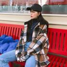 Hooded Oversized Plaid Jacket