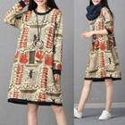Patterned Pullover Dress