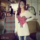 Sequined-heart Long Knit Top