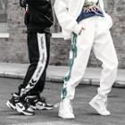 Couple Matching Lettering-trim Baggy Sweatpants