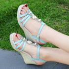 Wedge Heel Faux Pearl Ankle Strap Sandals