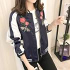 Embroidered Contrast-color Zip Jacket