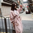 Belted-sleeve Chiffon Trench Coat