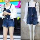 Bell-sleeve Top/denim Jumper Shorts