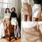 Pintuck A-line Miniskirt