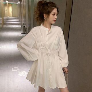 Balloon-sleeve A-line Mini Shirtdress