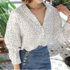 Notched-lapel Dotted Blouse White - One Size
