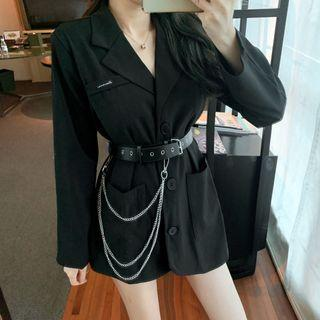 Plain Single-breasted Blazer / Chained Belt