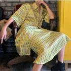 Printed Elbow-sleeve Oversize Shirt / Spaghetti Strap Midi Shift Dress