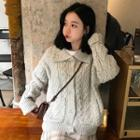 Polo-neck Cable Knit Cardigan