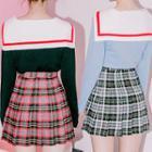 Sailor-collar Contrast-trim Knit Top