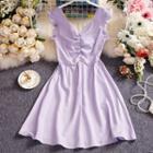Ruffle Trim Sleeveless Shirred Mini A-line Dress