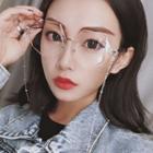 Geometric Rimless Eyeglasses With Chain