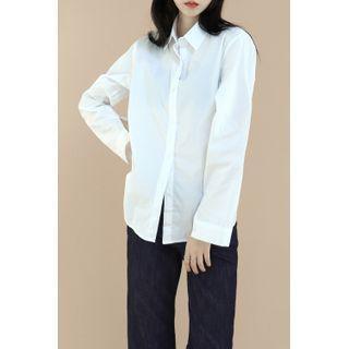 Round-hem Cotton Shirt White - One Size