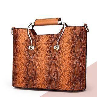 Croc Grain Pattern Handbag