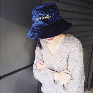 Embroidered Velvet Buckle Hat