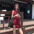 Sleeveless Asymmetric Hem Mini Dress
