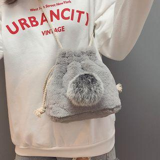 Fleece Pom Pom Bucket Bag
