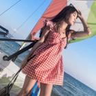 Plaid Frill Trim Sleeveless Dress