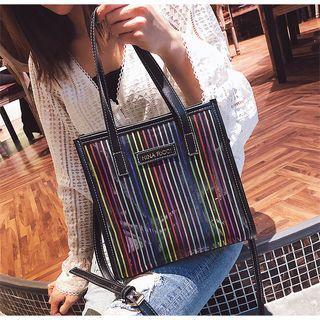 Pinstriped Transparent Tote Bag