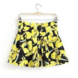Flower-print Pleated Skirt