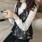 Set: Mock Neck Long Sleeve Lace Top + Lace Peplum Vest