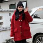 Hooded Toggle Furry Coat Red - One Size