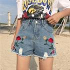 Floral Embroidered Wide Leg Denim Shorts