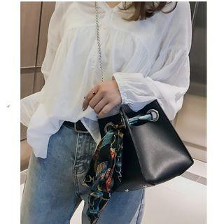 Chain Faux Leather Bucket Bag