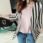 Collarless Stripe Linen Jacket