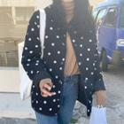 Padded Dotted Zip Jacket As Shown In Figure - One Size