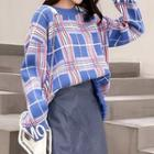 Plaid Lettering Fringed Sweater