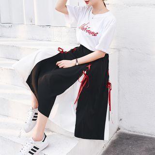 Set: Short-sleeve T-shirt + Color Block Midi A-line Skirt