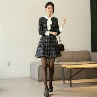 Tall Size Tie-neck Tweed Dress