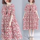 Leaf Print Short-sleeve A-line Dress Red - One Size