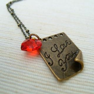 I Love You Letter Necklace Copper - One Size