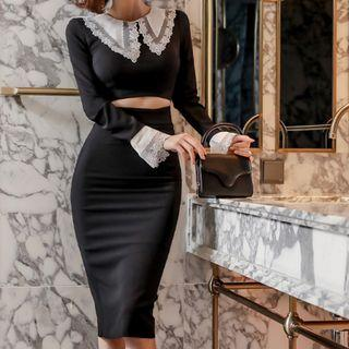 Lace Trim Collared Long-sleeve Cut-out Sheath Dress