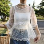 Set: Sheer Short-sleeved Blouse + Camisole