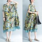 Short-sleeve Printed Midi Chiffon Dress Blue - One Size