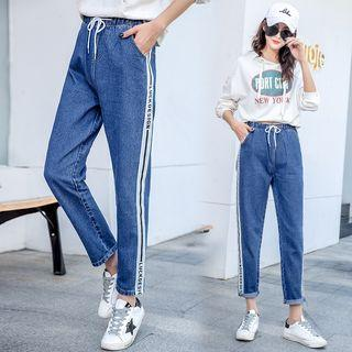 Drawstring Lettering Trim Cropped Jeans