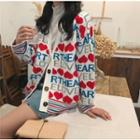 Heart Print V-neck Knit Cardigan