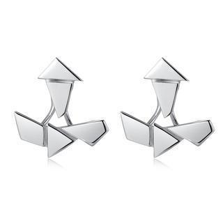 Left Right Accessory - 925 Sterling Silver Geometric Set Earrings
