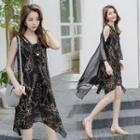 Sleeveless Chain Printed Chiffon Dress With Tie