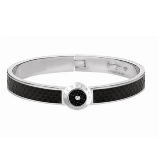 Square Pattern Carbon Fiber Diamond Bangle (m) Silver - M