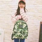 Canvas Patterned Zip Backpack